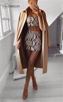 Hirigin женская женский комплект 2 шт. 2019 новая модная одежда с принтом змеи летний укороченный топ комплект сексуальное облегающее мини-платье