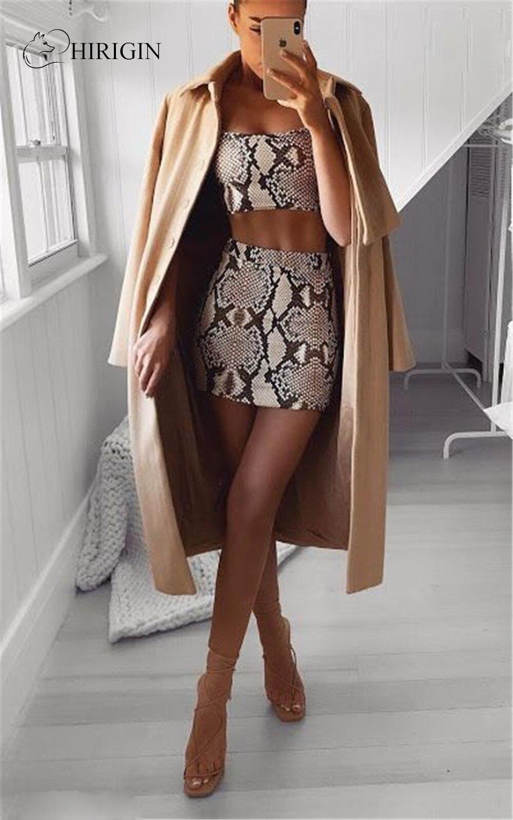 Hirigin Women 2 Piece Set Women 2020 New Fashion Snake Print Clothes Summer Crop Top Set Sexy Bodycon Mini Dress