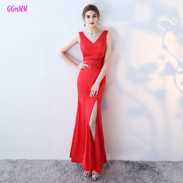 Semplice Rosso Lungo Della Sirena Abiti Da Sera 2018 Sexy Nero Vestito Da  Sera Convenzionale Con bfe8d3b46120
