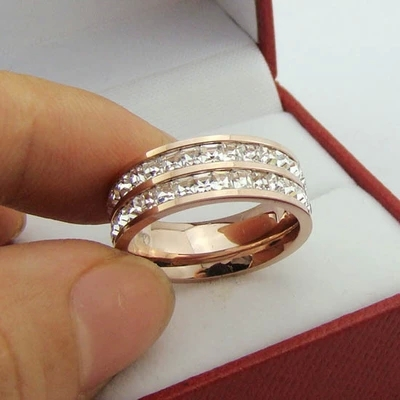 two-rows rhinestone gold plated Stainless steel Rings Jewelry free shipping