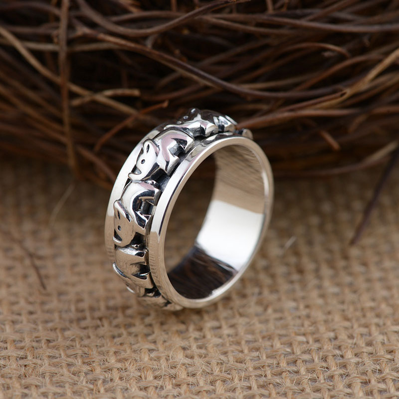 FNJ 925 Sterling Silver Ring Elephant Pattern S925 Thai Silver Rings for Women Men Jewelry anillos Male