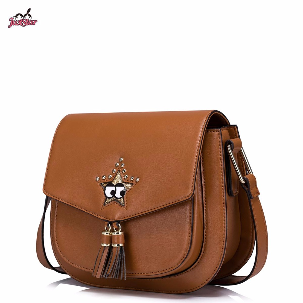 Just Star Brand New Design Fashion Collage PU Leather Girls Ladies Shoulder Saddle Bag With Tassles Crossbody Bags For Women