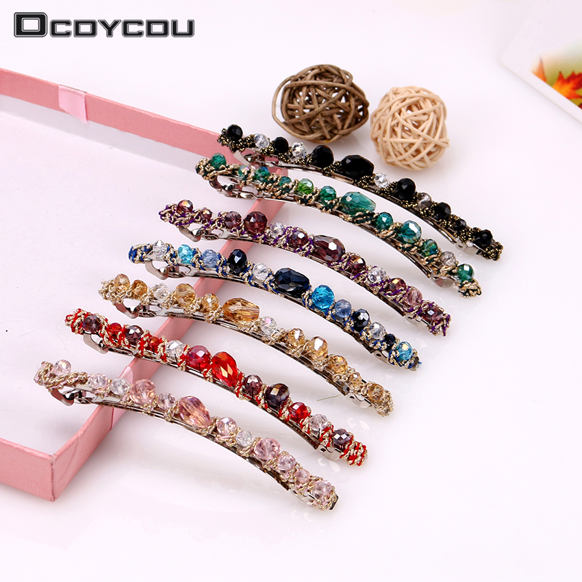 1PC Hot New Selling   Headwear   Women Korean Fashion Crystal Rhinestone Barrette Girl Hair Clip Pins Hair Accessories