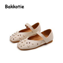 Bakkotie 2017 Autumn Baby Princess Shoe Rhinestone PU Leather Girl Brand Flat Shoes Pearl Soft Breathable Pink Mary Jane Child
