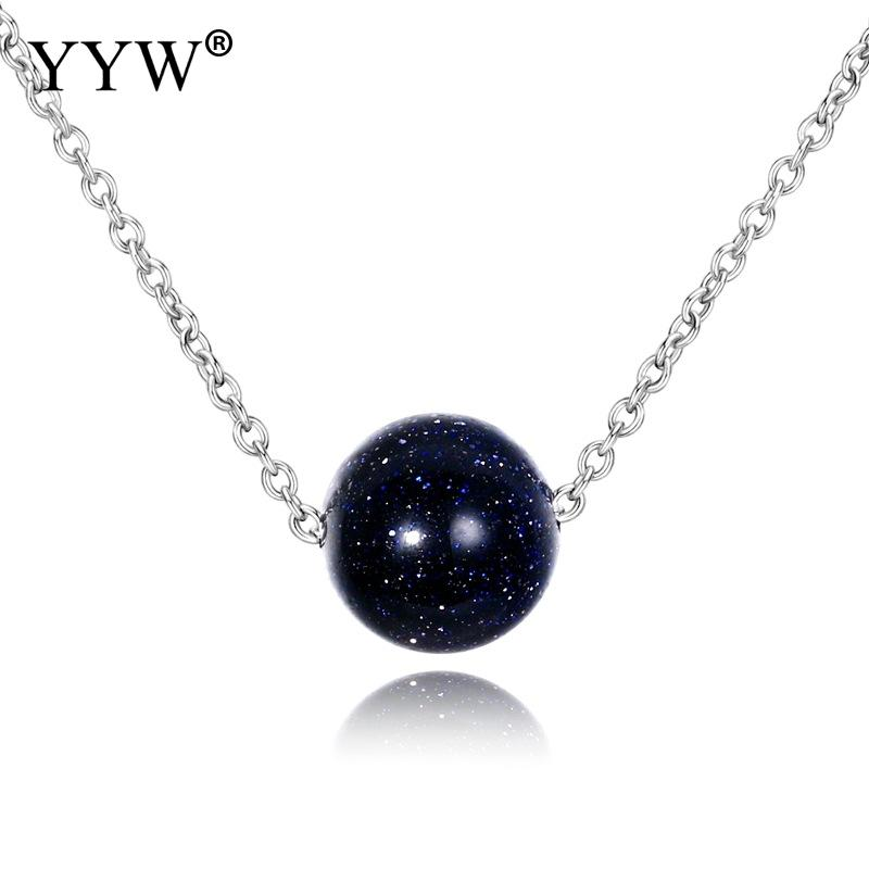 YYW zinc alloy  Pendant Necklace For Women Fashion Jewelry Blue Sand Aventurine Stone Engagement Anniversary Gifts