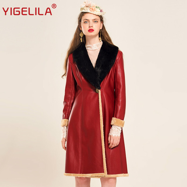 cc606a334e98 YIGELILA 9438 Latest Winter New Women Fashion Fur Turn-down Collar Slim Long  PU Coat