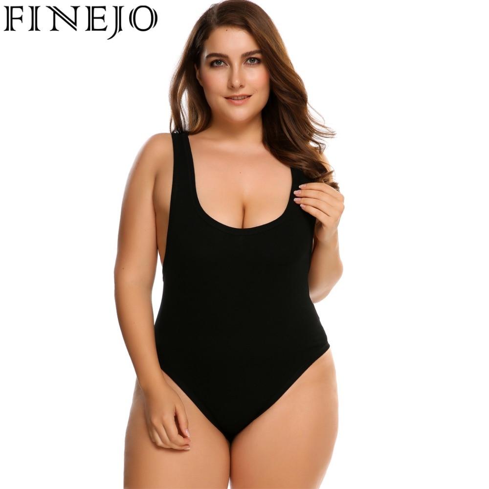 FINEJO Women's Sleeveless Solid Slim Fit One Piece Bodysuit Plus Size 2018 Camiseta Tops Blusa Spring summer Mono mono