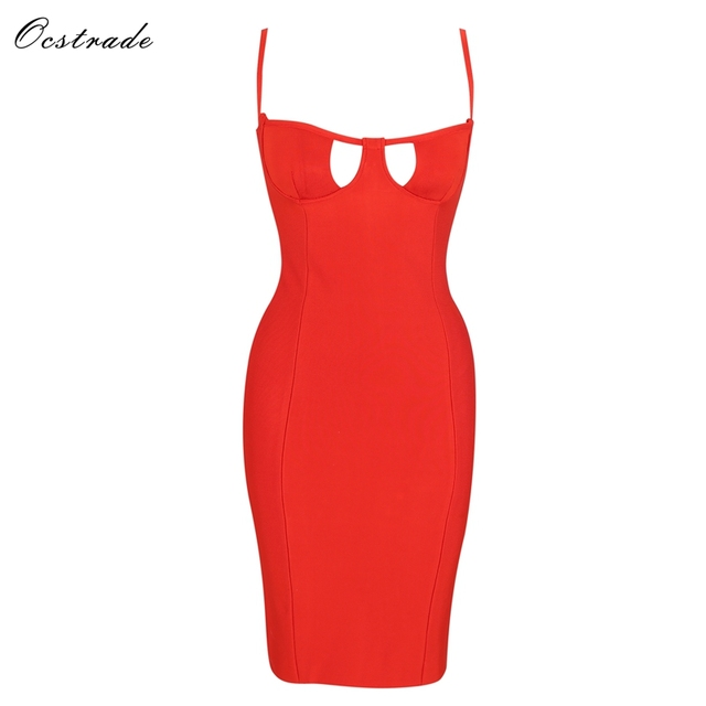 Ocstrade Women 2018 New Bodycon Dresses Red Cut Out Hourglass Women Bandage Sexy  Dress Party Club Vestidos ad3a9af3897f