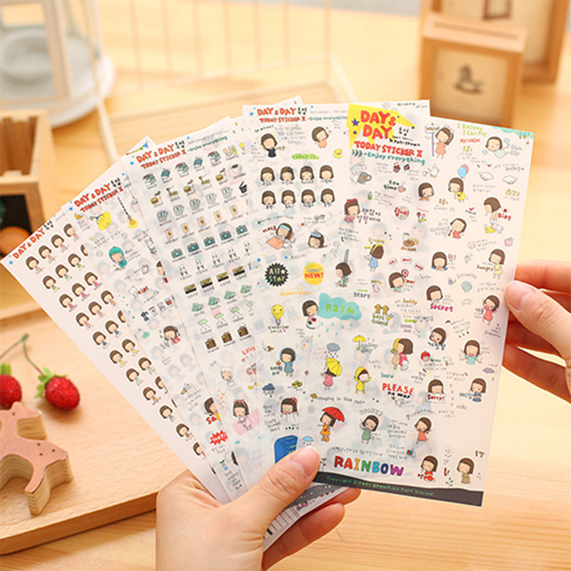 Efficient Korea Stationery Story Time Playful Chick Super Meng Diary Decorative Pvc Transparent Photo Stickers Child Diy Toy 6sheets/set High Quality Goods Office & School Supplies