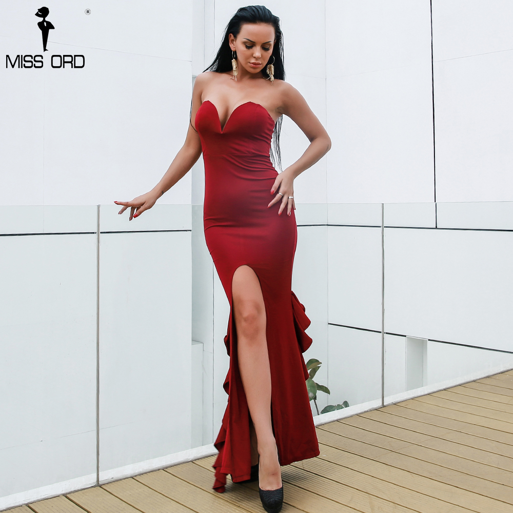 Missord 2018 Sexy women spring and summer sleeveless backless strapless drap maxi dress FT18301