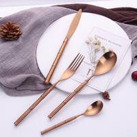 Hot Sale 4 pieces Bamboo type rose gold Dinnerware 304 Stainless Steel Western Cutlery Kitchen Food Tableware Dinner Set