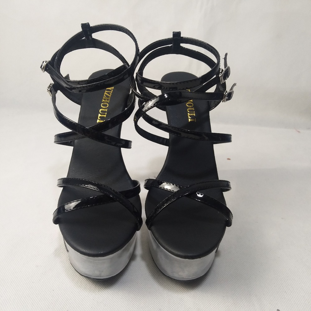 a047a6348d7d0c Plate Femmes Chaussures 6 Pouce 15 Sandales Hauts Sexy Transparent forme Cm  Avec Performance Noir Cristal Ultra Talons ...