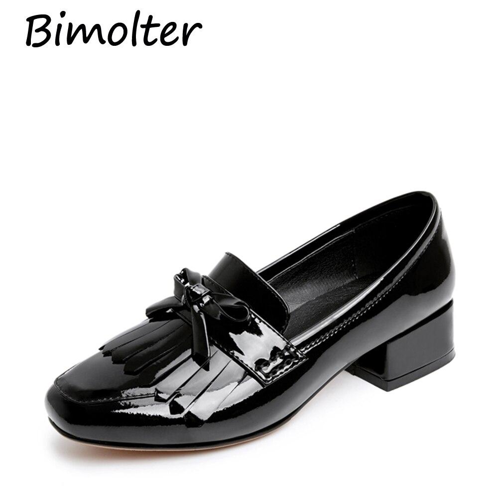 Bimolter vrouwen schoenen koe lederen hoge hakken ronde neus