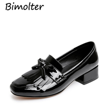 Bimolter Women Shoes Cow Leather High Heels Round Toe tassel Thick High Heel Pumps Summer Lady Party Heels Size 33-40 LCSA011 jellyfond 2018 retro style handmade shoes women chunky heel pumps round toe genuine leather high heels big size