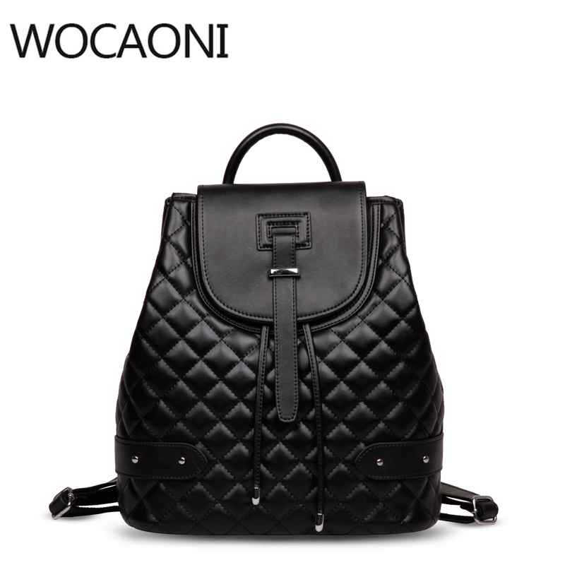 Backpack Famous Brand Leather Bag For 2018 Women Luxury Bag Diamond Lattice Travel Black Large Capacity Star Bag School Package