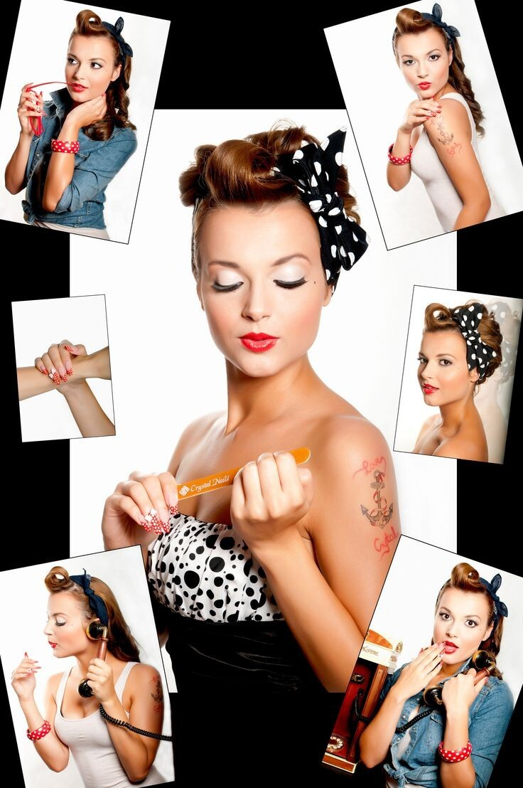 1950s women vintage cherry polka dot pinup rockabilly hair accessories bandana headband hair Head Scarf bands scarves dolly tie
