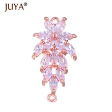 jewelry findings components luxury cubic zirconia crystal flower connectors for diy bracelets necklace earrings accessories