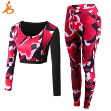 2019 Two Piece Set Tracksuit Camouflage Sexy Long Sleeve Sweatsuits For Women Sets Quick Dry T-shirt And Pants Sport Yoga Suit