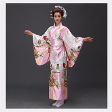 Fashionable Women Floral Kimono Sexy Romantic Yukata With Obi Vintage Party Dress Japanese Cosplay Costume One Size(China)