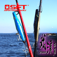 SFT 200mm 90g Handmade Wooden Floating Fishing Lures Pencil Popper Lure Hard Artificial Bait Tackle Crankbaits