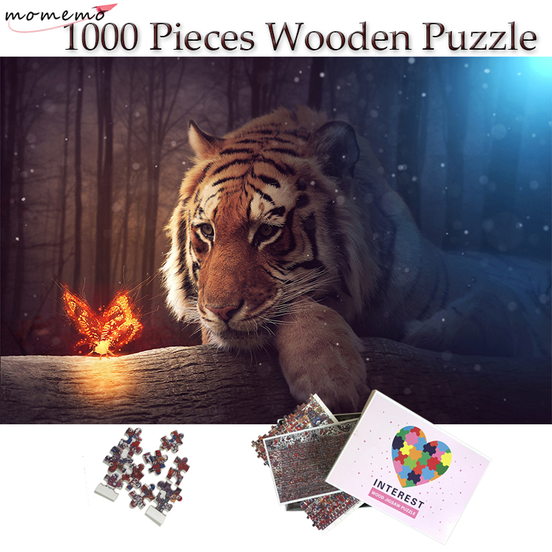 MOMEMO Tigers And Butterflies Puzzle Art Painting 1000 Pieces Wooden Puzzles Toy Adults Gifts Jigsaw Puzzle 1000 Home Decoration