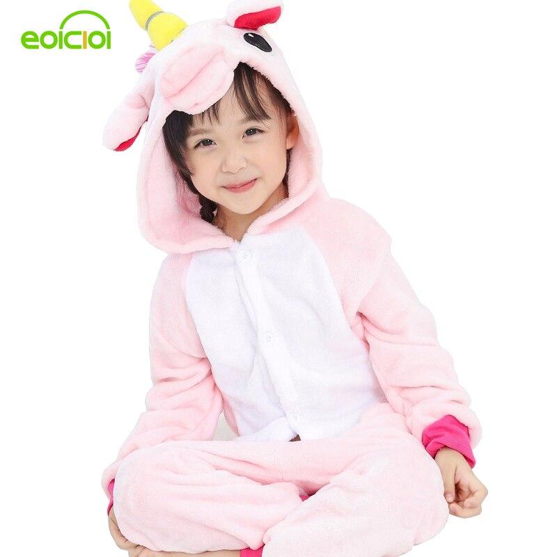 EOICIOI Animal Unicorn Stitch Pegasus Pikachu Pajamas Flannel Hooded Kids Sleepwear Cartoon Cosplay Children Onesies