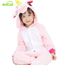 EOICIOI Animal Unicorn Stitch Pegasus Pikachu Pajamas Flannel Hooded Kids Sleepwear Cartoon Cosplay Children Pajamas Onesies