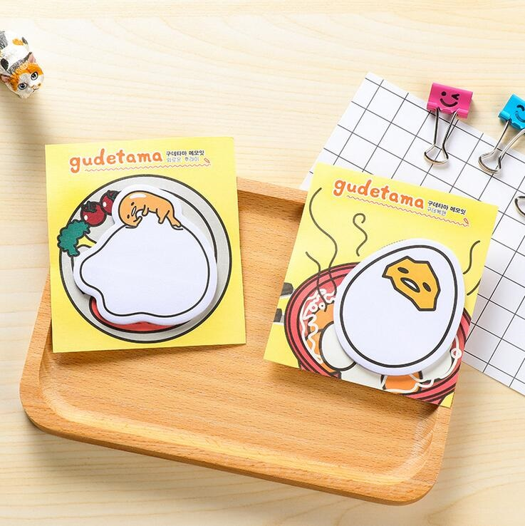 1pack/lot Cute Cartoon Gudetama Message Notepad Lazy Egg Sticky Note Pads Memo Writing Scratch Pad Office School Supplies