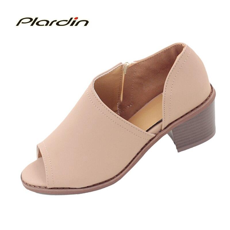 Plardin 2018 Été plus la taille Peep Toe Nu et cheville bottes chaussures simples Avec carré talon Zip Peep Toe femmes de chaussures