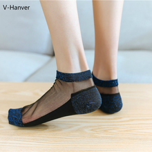 V-Hanver Women Socks 1 Pair 2019 New Spring Woman Ankle Girls Lace Breathabke Thin Solid Novelty Fashion Lady