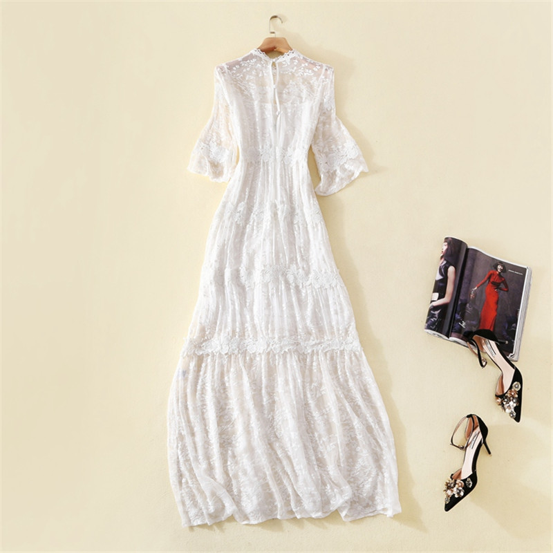 100 Silk Dresses Women Elegant High Quality Solid White Printed O Neck Flare Sleeve Embroidery 100