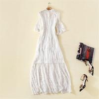 100% шелковые платья женские элегантные высокого качества однотонные белые с круглым вырезом с расклешенными рукавами вышивка 100 натурально