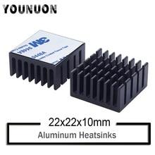 2Pcs YOUNUON Black 22x22x10mm Aluminum Heatsink for Chip CPU GPU VGA RAM IC LED Heat Sink Radiator Cooling with 3M Tape premium 100x100x4 0mm diy copper shim heatsink thermal pad for laptop gpu cpu vga chip ram and led copper heat sink
