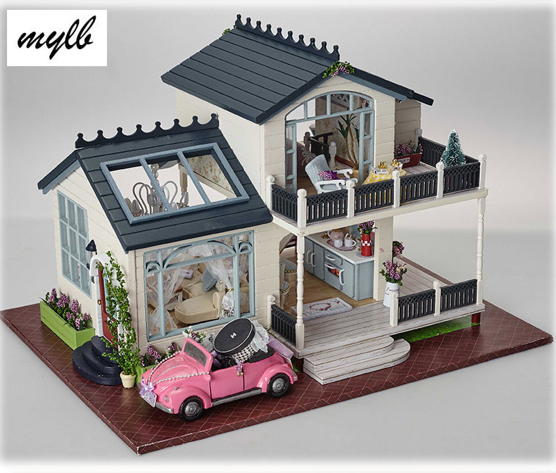Mylb maison de poupée maison de poupée miniature à monter soi-même avec meubles maison en bois jouets pour enfants cadeau d'anniversaire PROVENCE