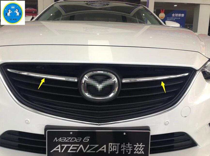Prix pour 2 pcs Chrome Calandre Grill Cadre Cover Version Pour Mazda 6 Atenza M6 Berline 2013 2014 2015