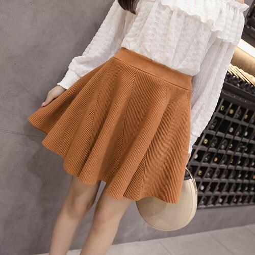 Skater Skirt Women 2018 Autumn Winter Korean Style Knitted High Waist Mini Skirt  Black Khaki faldas mujer B213 88b9b1626
