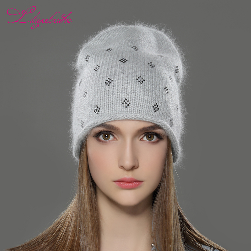 LILIYABAIHE Women Autumn And Winter Hat Angora Knitted Skullies Beanies Cap Classic Color Diamond Decoration Hats For Girls