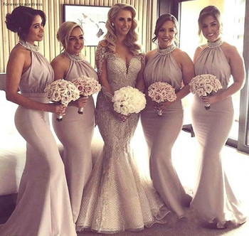 Halter Neck Bridesmaid Dresses Mermaid Long Summer Country Garden Wedding Party Guest Maid of Honor Gowns Plus Size Custom Made