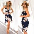 Verão sem mangas Floral V Neck Corset mulheres vestido de 2016 uma linha Backless cruz fino vestido de Chiffon