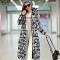 2017 de alta calidad extra largo por la chaqueta de algodón de invierno de las mujeres Espesan la capa femenina prendas de vestir exteriores de impresión de moda Casual abrigos