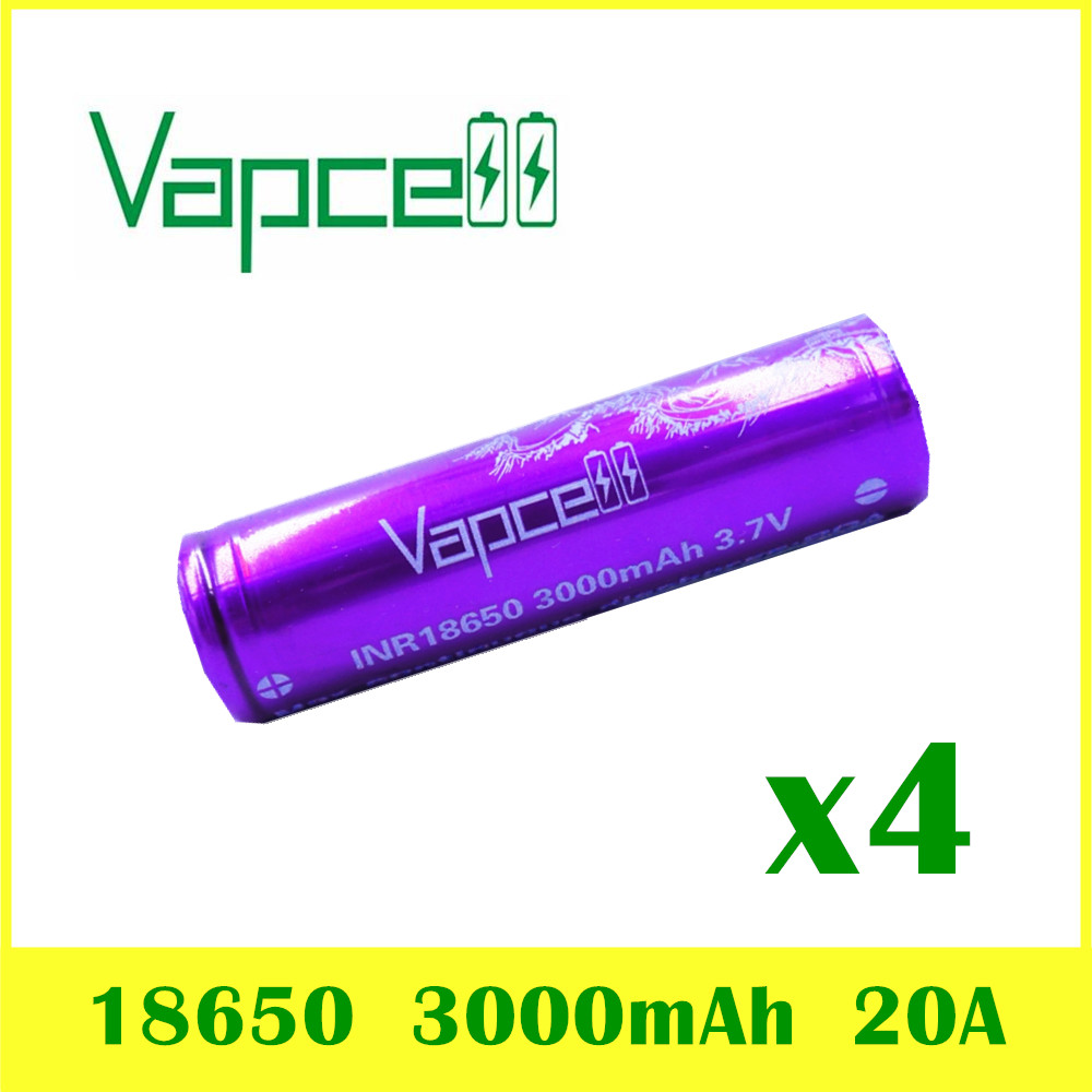 4 pcs VAPCELL INR18650 3000mAh 3 7V rechargeable HIGH POWER lithium battery continuous 20A vs keeppower