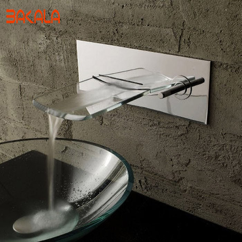 Free shipping BAKALA Luxury Brushed Nickel Wall Mounted Waterfall Bathroom Bathtub Basin Faucet LH 8183