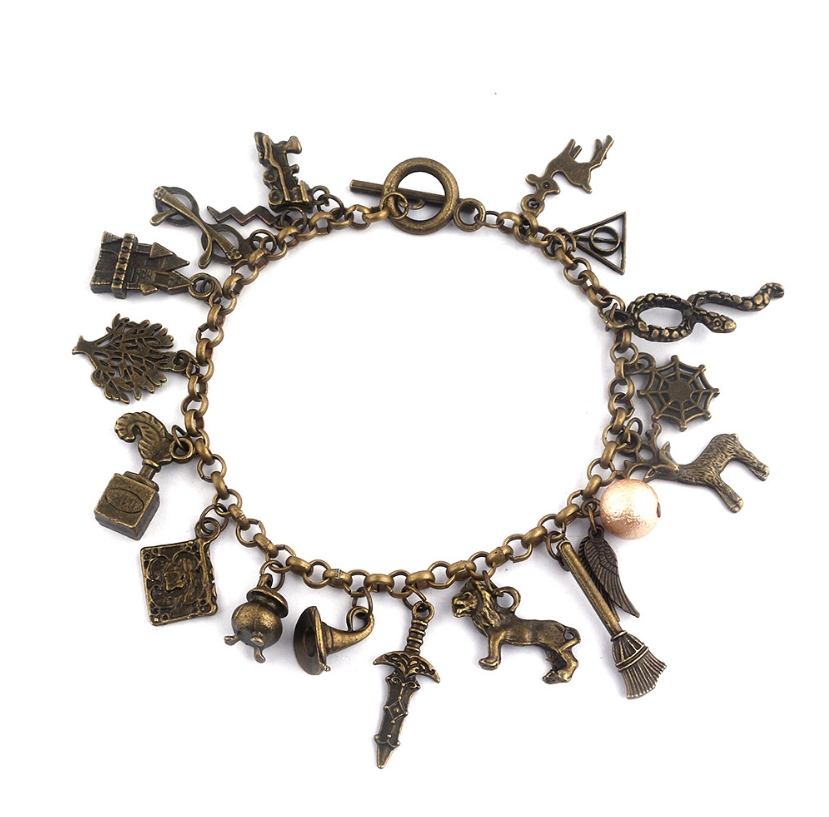Harri Potter Combination Jewellery Silver gold Plated Charm Bead bracelet Pendants toy gifts gold plated rhinestone heart circle charm bracelet