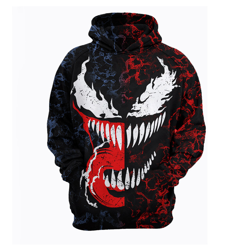 HOT! NEW Venom Spider-Man Cool Hoodie 3D Print Zipper Hoodies Tops Coat  Jacket Sweatshirt 2018 Pullovers Tops Dropshipping!