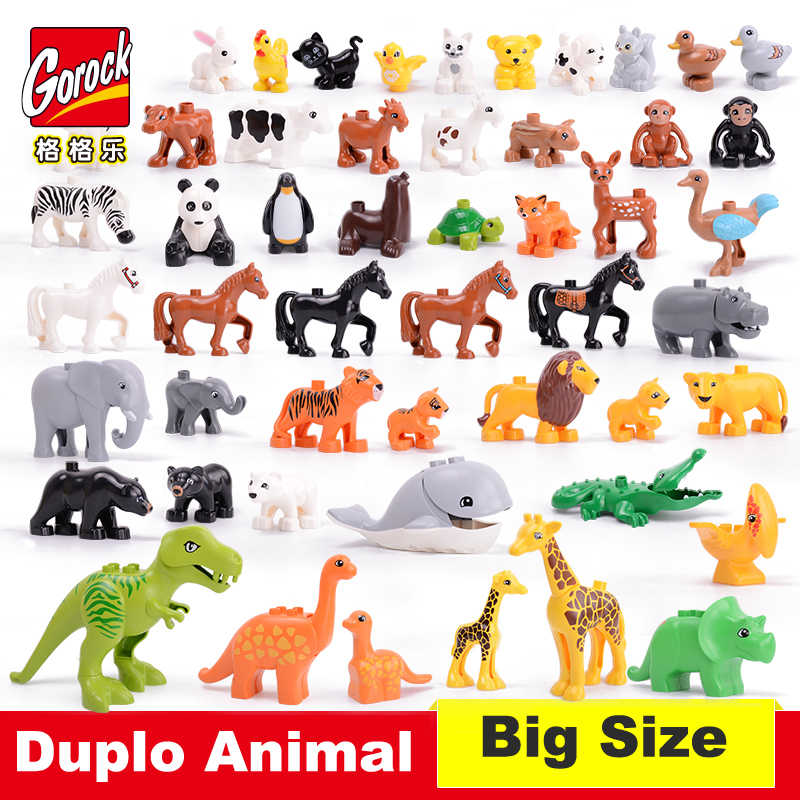 50-10pcs Big Particles Model Building Blocks Accessory Toys For Children Compatible With Duplo Animal Deer Dog Lion Fox Bricks