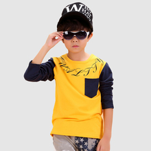 T-shirt Tees Children Character Worsted Cotton Boy Tops 2016 Fashion Broadcloth Children's Clothing Full Shirt Tees Character