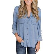 709dd7a4cb3 (Ship from US) 2018 Women Girls New Fashion Casual Solid Blue Jean Soft  Denim Short Sleeve Shirt Tops Summer Button Pockets Blouse