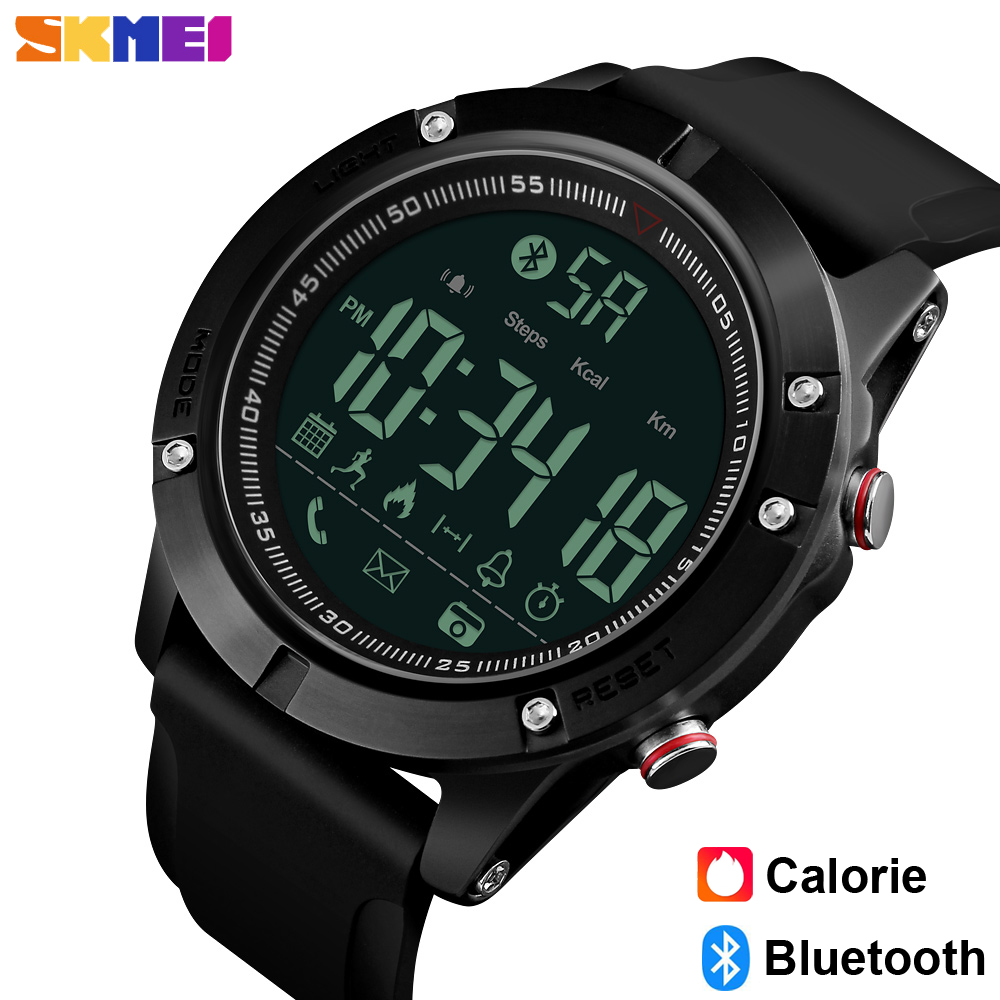 SKMEI Luxury Fashion Sports Bluetooth Watches Men Pedometer Calorie Smartwatches Remote Camera LED Digital Wristwatches Relogio