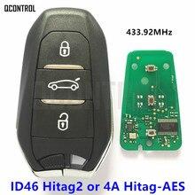 Llave de coche inteligente QCONTROL remoto para Peugeot 208, 308, 508, 3008, 5008, 433MHz, 434MHz, sin llave