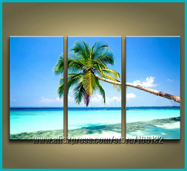 Framed 3 Panel Canvas Art Sea Painting Coconut Tree Beach Wall Decor Home  Picture A0814